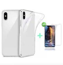 iPhone X Hülle Silikon Handy Schutz Cover TPU Case durchsichtig + 9H GLASS