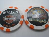 White & Orange 80th Ann. Poker Chip from Badlands Harley Davidson Wall, SD