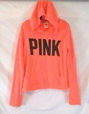 Victoria's Secret PINK Jacket Hoodie Medium Orange Graphic Pull Over Women CBV15