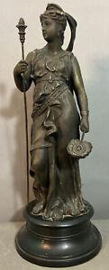 19thC Antique VICTORIAN Era GREEK Lady GODDESS Old BRONZED Spelter MANTEL STATUE