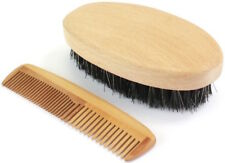 Mens Military Bristle Grooming Hairbrush & Comb Set