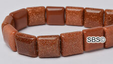 Goldstone 10x10mm 2-Hole Square Stone Beads (approx. 16 inch strand)