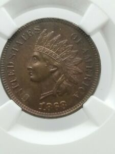 1868 Indian Head Cent Ngc Ms63 Brown