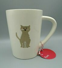 Extra Large White Embossed Kitty Cat Coffee Cup Mug