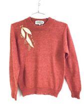 VTG 80s Womens L Fuzzy Mohair Sweater  Cromenco Paris NWT Red Gold Applique