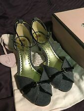 Juicy Couture Grey Flannel Black Soft Patent Heels  - Size 9.0 M