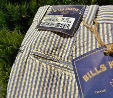 NWT NEW Bills Khakis M2 Seersucker Cotton Blue Striped SUMMER Pants 34 USA Trad