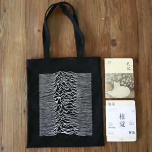 12ounce Cotton joy Division Zipper Shopping shoulder Canvas Tote Bags handbags