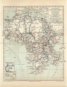 1900s AFRICA MADAGASCAR EXPLORER SCIENTIFIC EXPEDITIONS Antique Map