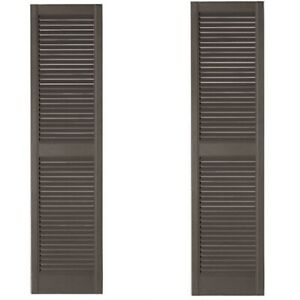 """1 PAIR  Ply Gem 15 """" X 51 """" Open Louvered Polypropylene Shutters In BROWN"""
