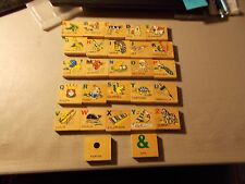 VINTAGE LOT OF 27 WOOD TILES WITH NUMBERS ONE SIDE & LETTERS/WORDS ON THE OTHER