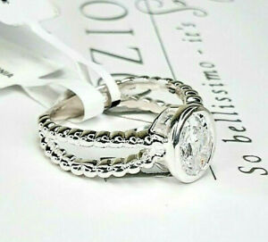 Sterling Silver 925 Swarovski Double Band Oval Solitaire Bobble Ring Size N.