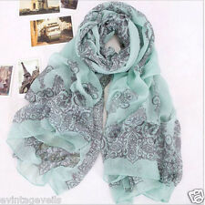 Mantilla Wrap Style Lovely Chiffon Voile Scarf Wrap Pale Green/Blue