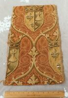 """Antique c1910-20 French Heraldic Cotton Jacquard Tapestry Fabric Sample~21""""X12"""""""