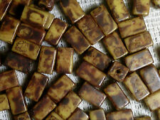 Vtg 100 BROWN PICASSO RECTANGLE GLASS SPACER BEADS OMG! #112210k