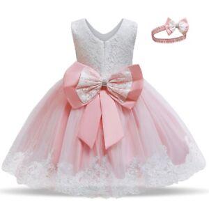 Flower Girls Princess Bow Dress Toddler Baby Wedding Party Summer Tutu Dress