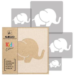 5x stencil riutilizzabili in PLASTICA/ da 34x34 cm a 9x9 cm / bambini / ELEFANTE