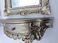 Wandkonsole/Spiegelkonsolen/Wandregal Alt Silber Barock 50x24x20 Antik Silber