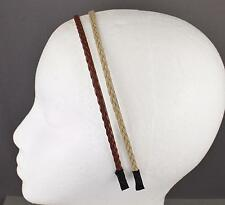 Brown Tan headband set 2 braid faux leather braided hair band skinny narrow