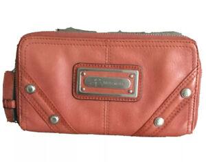 EUC B. Makowsky ORANGE Ultra-Soft Leather Zip-Around Wallet