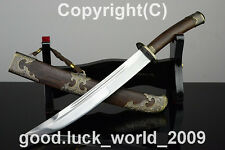 """High Quality  Chinese Short Qing Sword """"清刀""""PatternSteel Copper Fitting Sharp"""