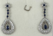 14k Solid White Gold Dangle Earrings with Natural Sapphire and Cubic Zirconia