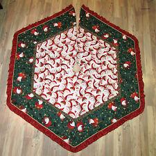 "Santa w/ Leopard Skin Hat Christmas Fabric Handmade Finished Tree Skirt  66""x77"""