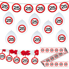 Deko Set 25. Geburtstag Party 25 Dekoration Verkehrsschild Girlanden Feier