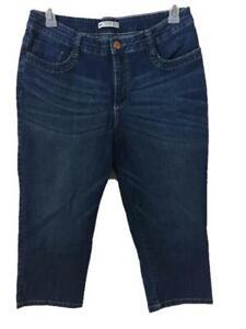 LEE jeans capris size 12 blue Slender Secret Lower on Waist 4 pockets embroider