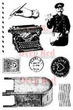 Deep Red Rubber Cling Stamp Vintage Postal Postman Mailbox Mail Set