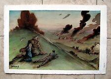 Large Mike Dubisch Fantasy War Gouache Painting 15X23 inches Original Comic Art