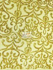 UNIQUE VINTAGE DAMASK SEQUINS FABRIC - Gold - BY THE YARD BRIDAL DRESS DECOR