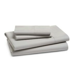 Hudson Park Supima Cotton Percale Sheer Set Solid 470 Thread Count TWIN Silver