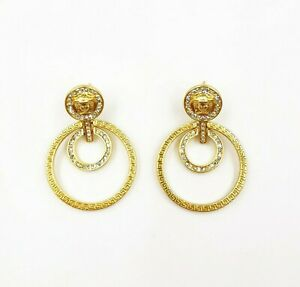 Gianni Versace Medusa Designer Double Hoop Greca earrings gold plated metal