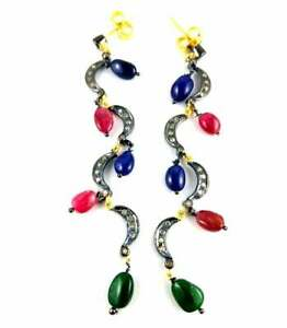 Solid 925 Sterling Silver Pave Rose Cut Diamond Ruby Sapphire Emerald Earring