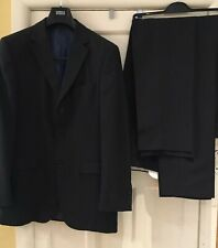 MARKS & SPENCER NAVY PINSTRIPE WOOL BLEND SUIT WITH 2 X TROUSERS 38L W32 L35