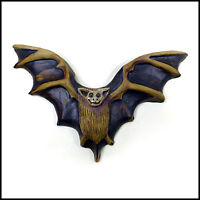 Small Black Bat Wall Plaque by Zoo Ceramics for Interior and Exterior Display