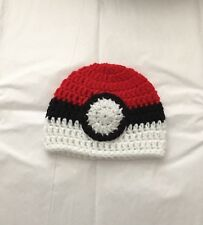 Crochet POKEMON POKEBALL BABY BEANIE INFANT HAT Handmade