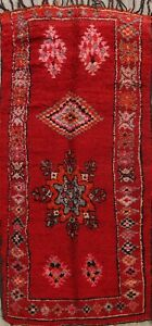 Vintage Authentic Moroccan Vegetable Dye Hand-knotted Oriental Area Rug 5x10 RED
