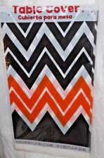 "Halloween Chevron Plastic Table Cover, Fall Party Supplies 54"" x 84"" Table Cloth"