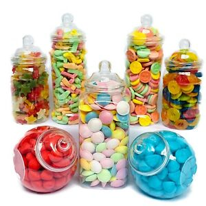 7 Large Plastic Sweet Jars for Truly Sweet Candy Buffet, Sweet Table, Wedding