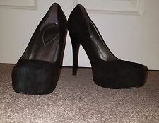 Guess Black Suede Heels Shoes Women Used Pre Owned  Ladies Size 5.5 38.5 Office