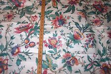 "5.50 Yards 54""wide COTTON PINK/AQUA/TEAL on WHITE FLORAL FABRIC VALANCES/PILLOWS"