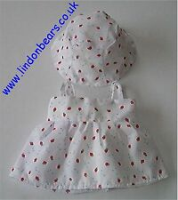 """STRAWBERRIES PRINT DRESS & HAT LINED FITS TEDDY BEARS 16""""/40CM TALL MADE IN UK"""