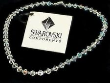 w Swarovski Crystal Bridal Wedding Everyday ~Simple Sterling Silver Necklace New