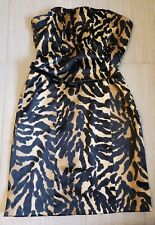 Strapless Leopard Print Cocktail Party Dress Black Pencil Size 10 Kristin Davis