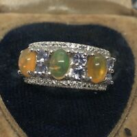 Vintage Sterling Silver Ring 925 Size 5 Lab Opal Band CZ China