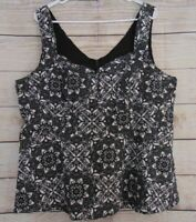 Torrid Women's Size 2X LACE PRINT SATEEN PEPLUM TOP Black + White Stretch
