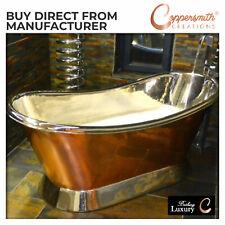 COPPER BATHTUB HIGH QUALITY - NICKEL INSIDE SHINY COPPER OUTSIDE - FREE WASTE