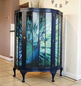 Blue Peacock Art Deco Style Vintage Drinks/Gin/Cocktail Display Cabinet